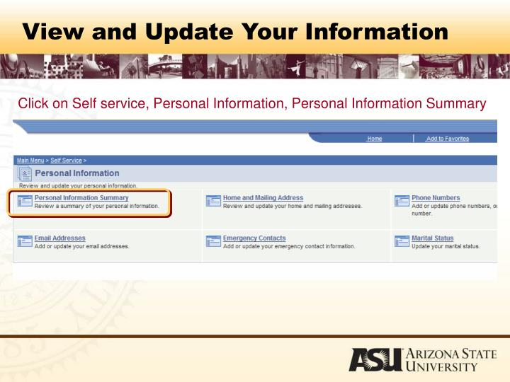 View and Update Your Information