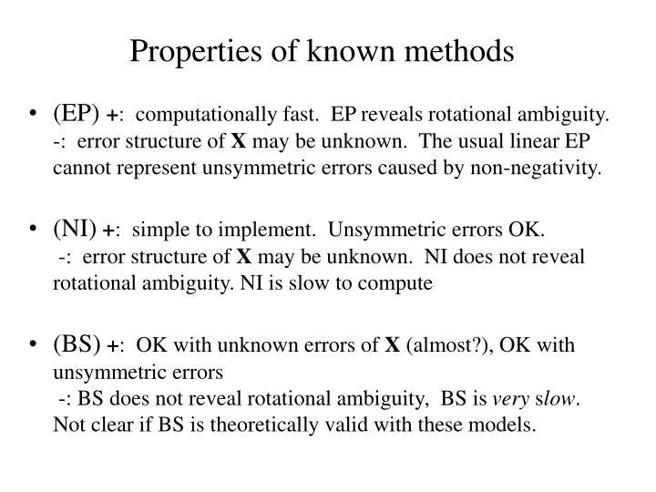 Properties of known methods
