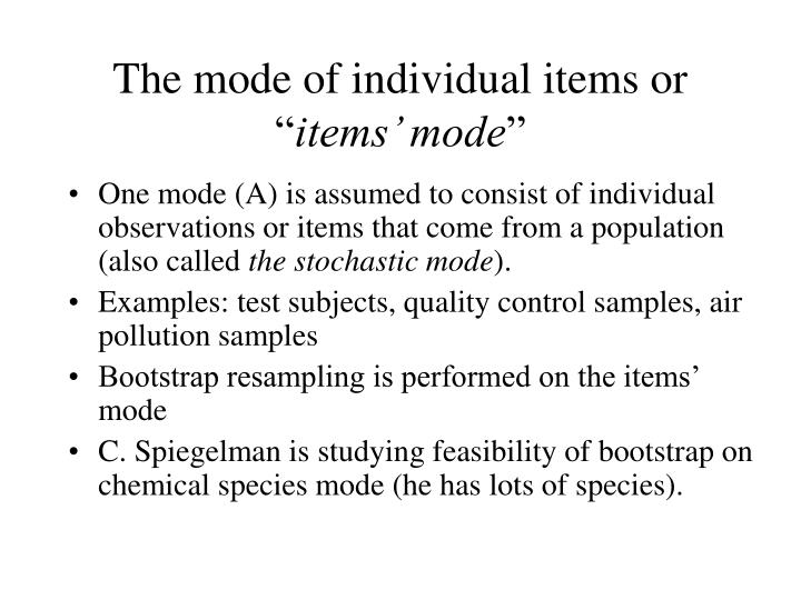 The mode of individual items or ""