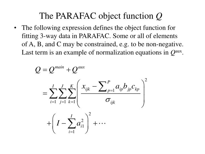 The PARAFAC object function