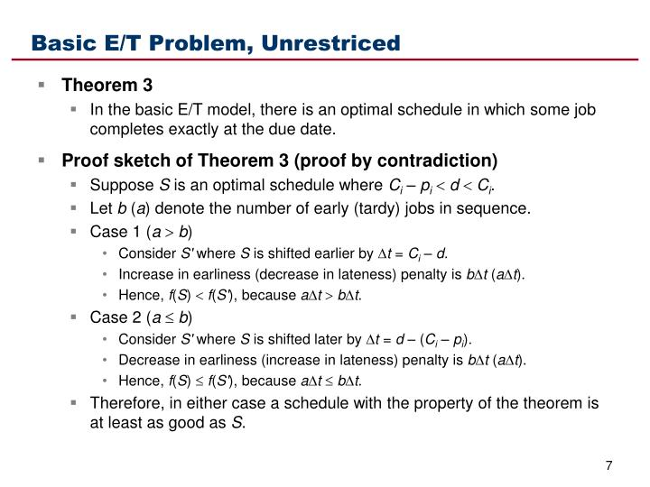 Basic E/T Problem, Unrestriced