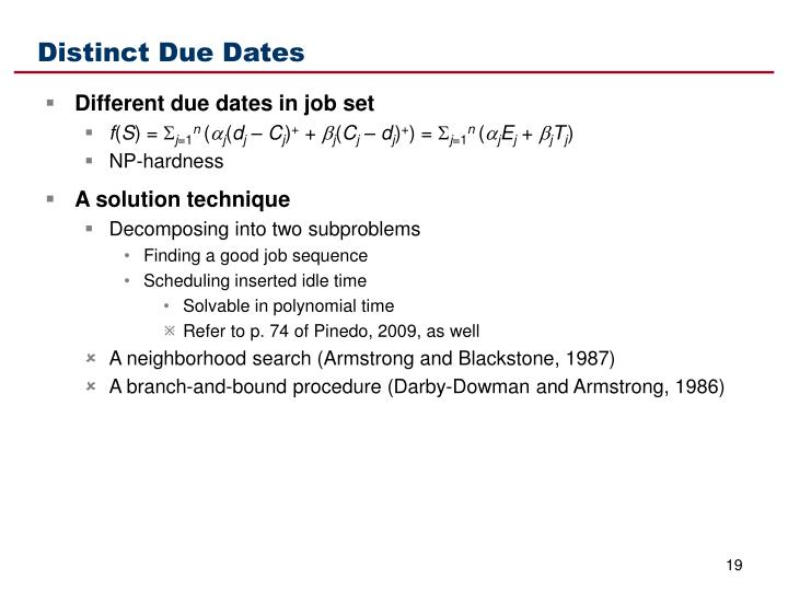 Distinct Due Dates