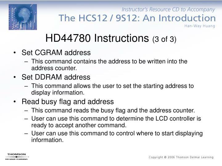 HD44780 Instructions