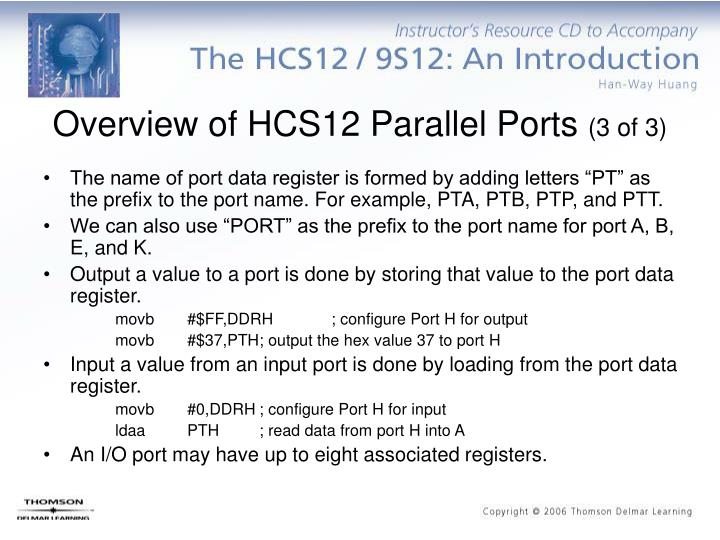 Overview of HCS12 Parallel Ports