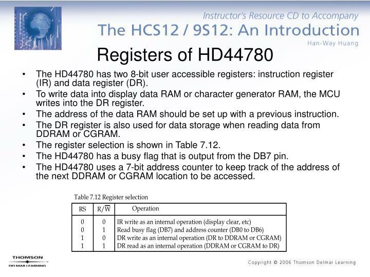 Registers of HD44780