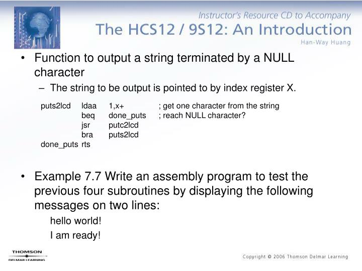 Function to output a string terminated by a NULL character