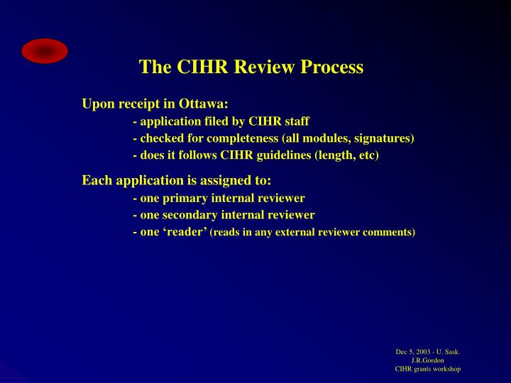 The CIHR Review Process