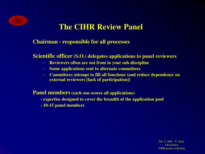 The CIHR Review Panel