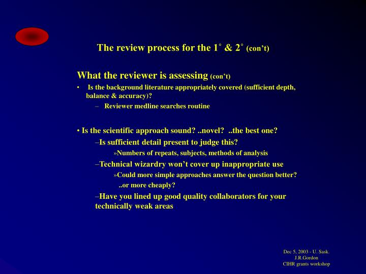 The review process for the 1˚ & 2˚