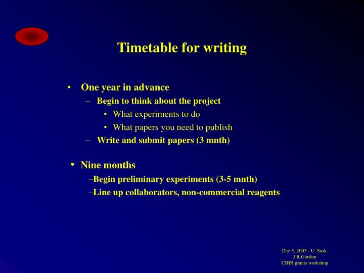 Timetable for writing