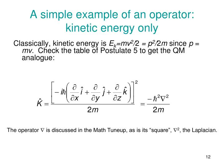 A simple example of an operator: kinetic energy only