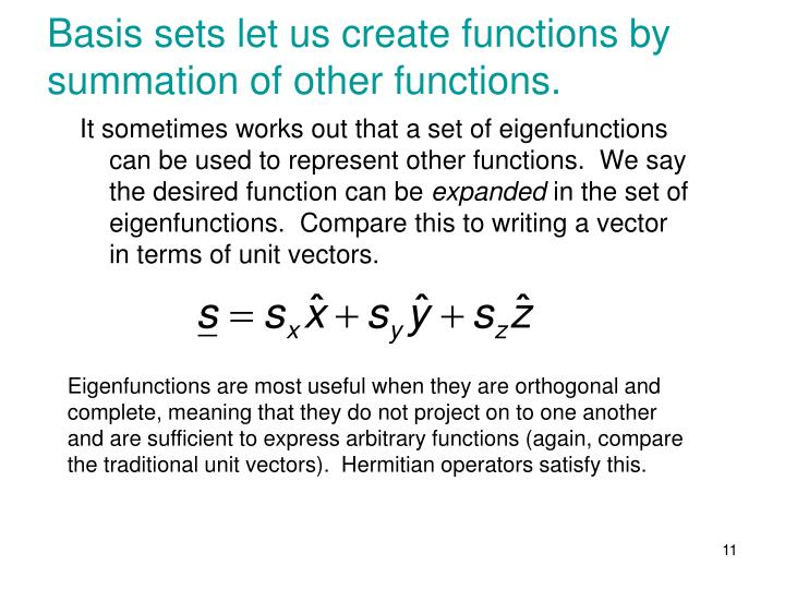 Basis sets let us create functions by summation of other functions.