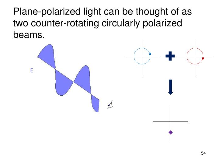 Plane-polarized light can be thought of as two counter-rotating circularly polarized beams.