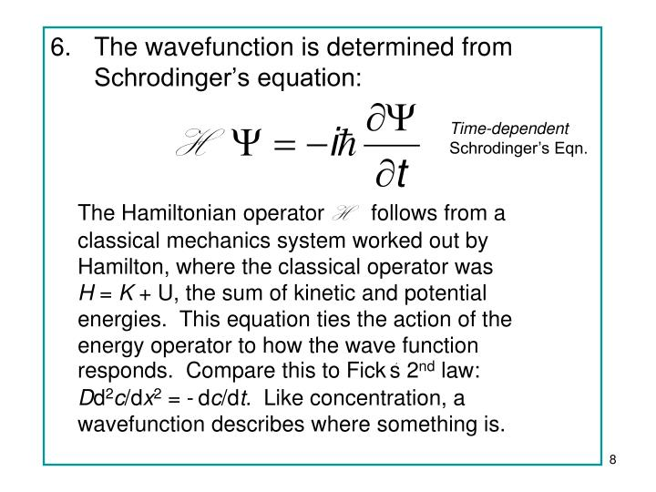 The wavefunction is determined from Schrodinger's equation: