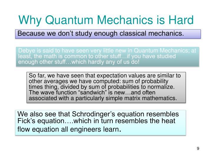 Why Quantum Mechanics is Hard