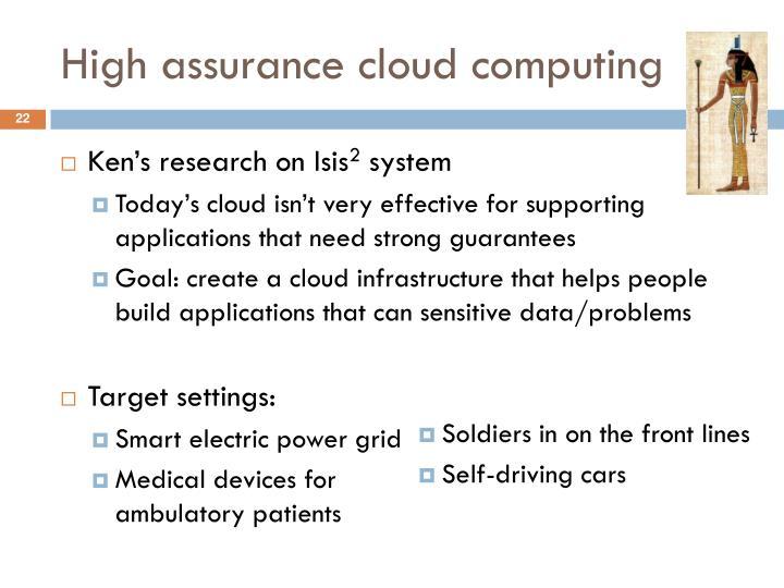 High assurance cloud computing