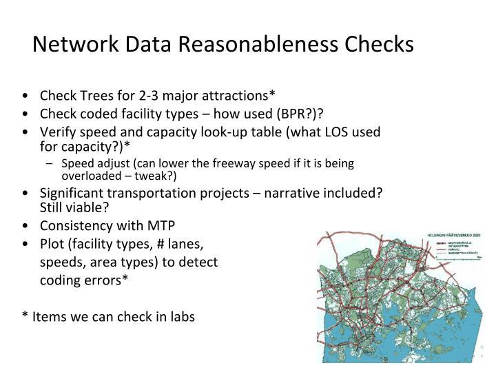 Network Data Reasonableness Checks