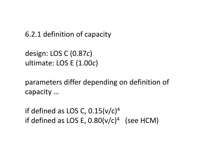 6.2.1 definition of capacity