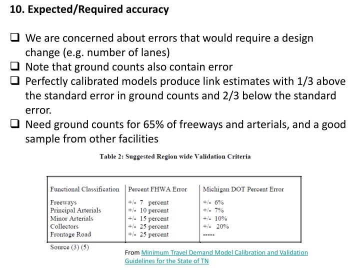 10. Expected/Required accuracy