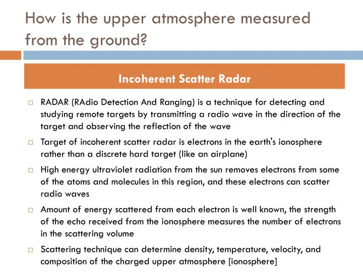 How is the upper atmosphere measured from the ground?