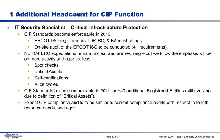 1 Additional Headcount for CIP Function