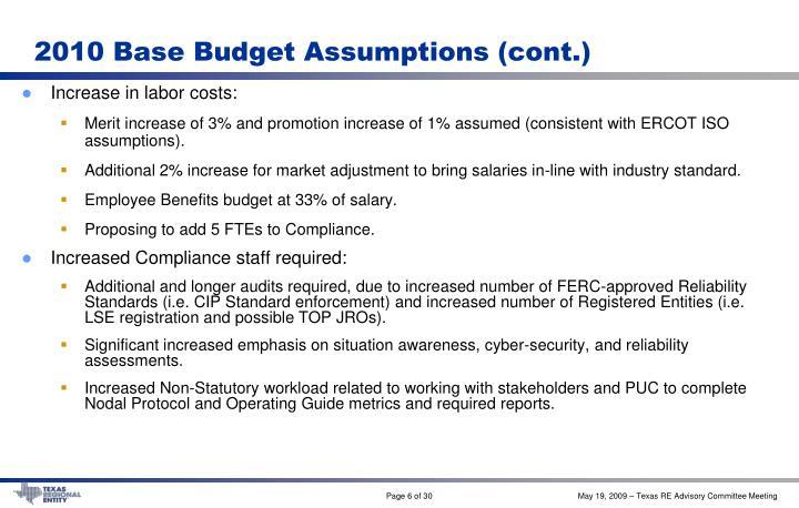 2010 Base Budget Assumptions (cont.)