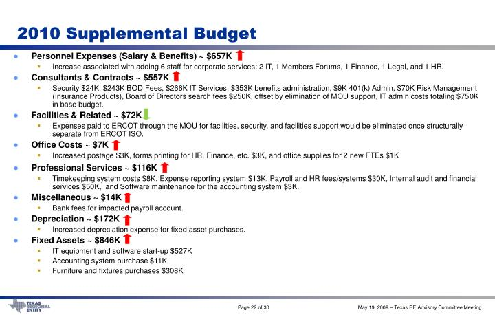 2010 Supplemental Budget