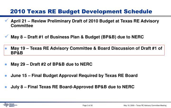 2010 Texas RE Budget Development Schedule