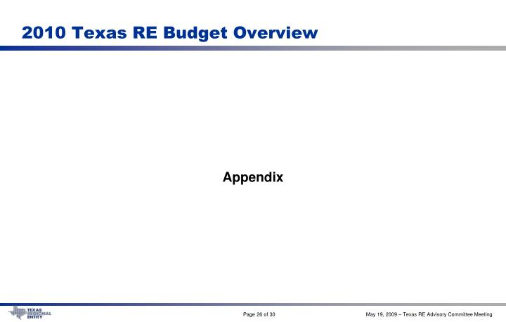 2010 Texas RE Budget Overview