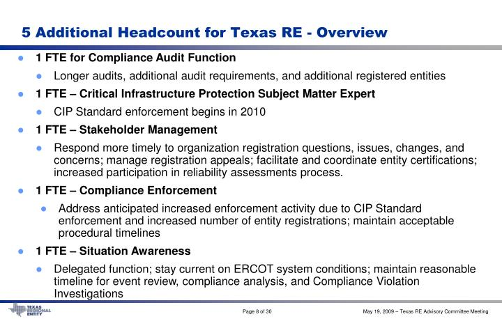 5 Additional Headcount for Texas RE - Overview