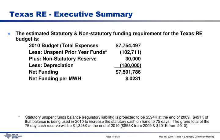 Texas RE - Executive Summary
