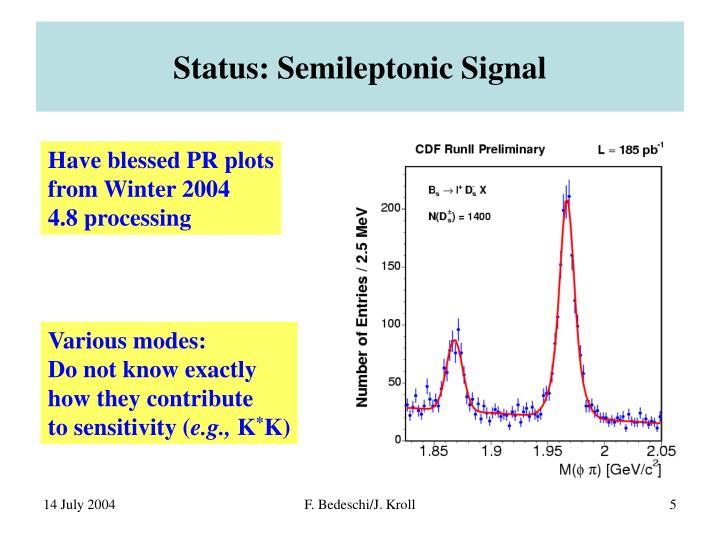 Status: Semileptonic Signal