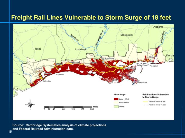 Freight Rail Lines Vulnerable to Storm Surge of 18 feet