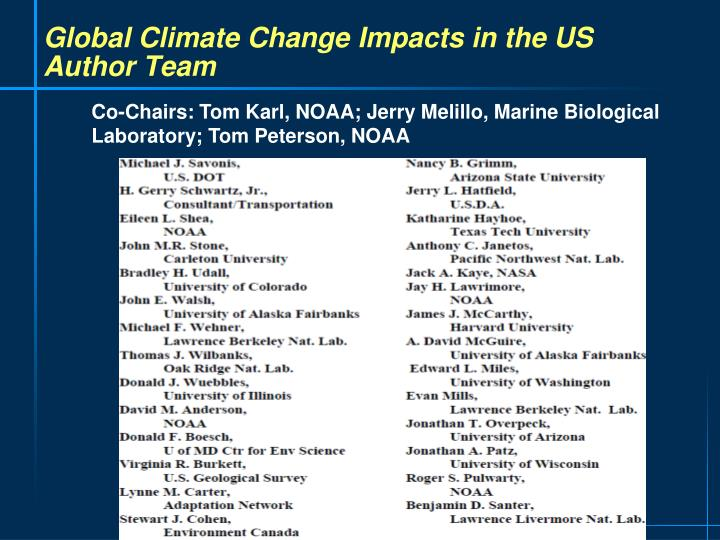 Global Climate Change Impacts in the US