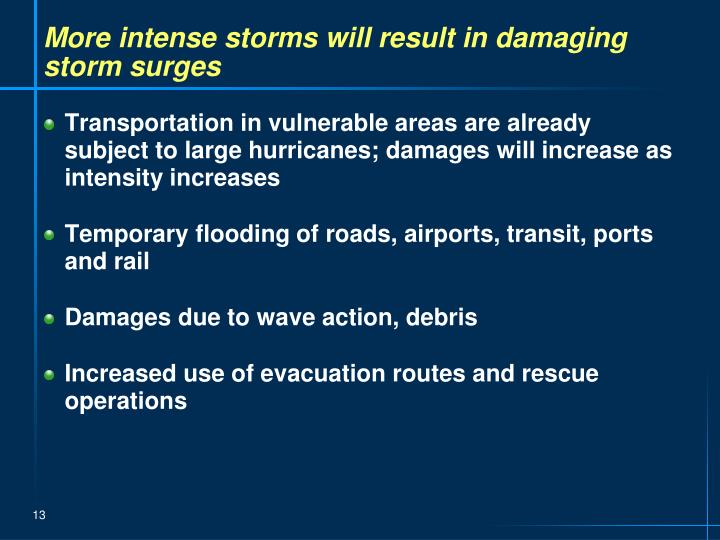 More intense storms will result in damaging storm surges