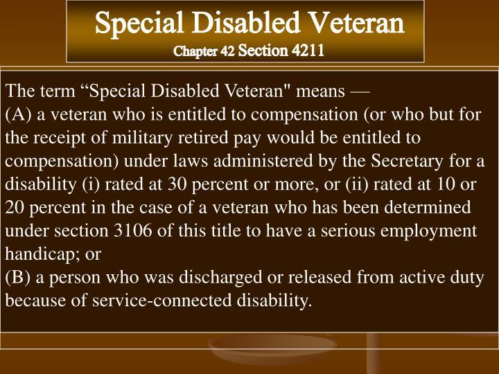 Special Disabled Veteran
