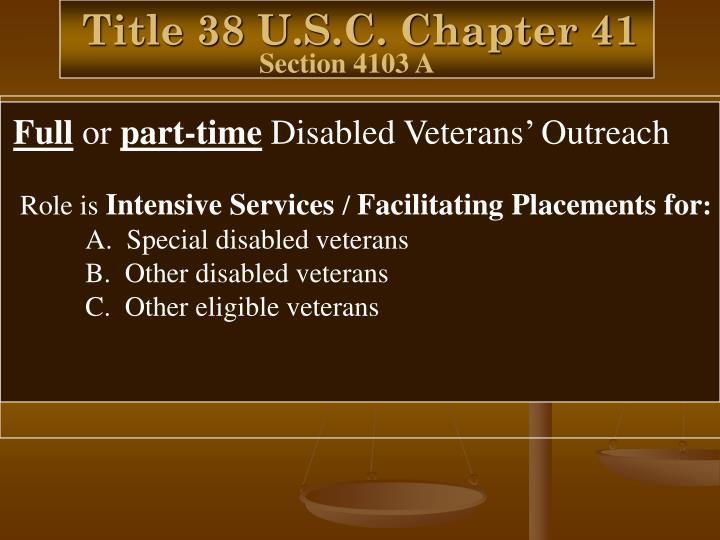 Title 38 U.S.C. Chapter 41