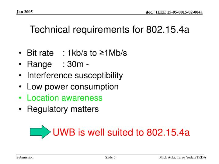 Technical requirements for 802.15.4a