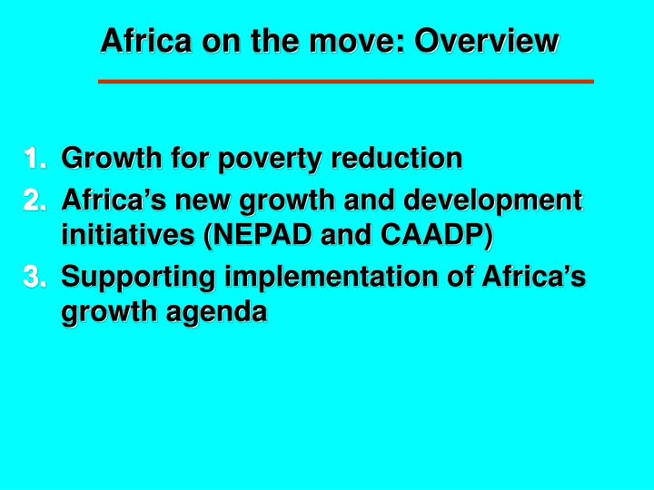 Africa on the move: Overview