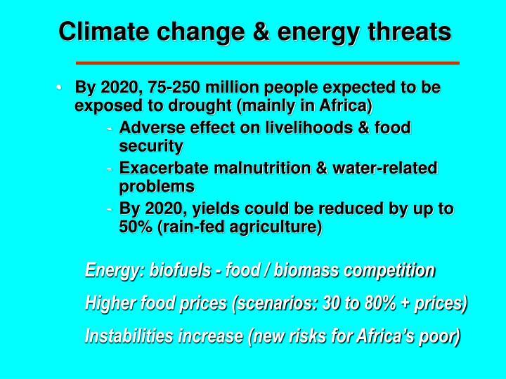 Climate change & energy threats