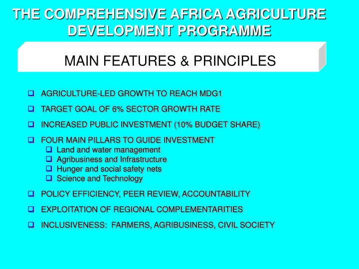 THE COMPREHENSIVE AFRICA AGRICULTURE DEVELOPMENT PROGRAMME