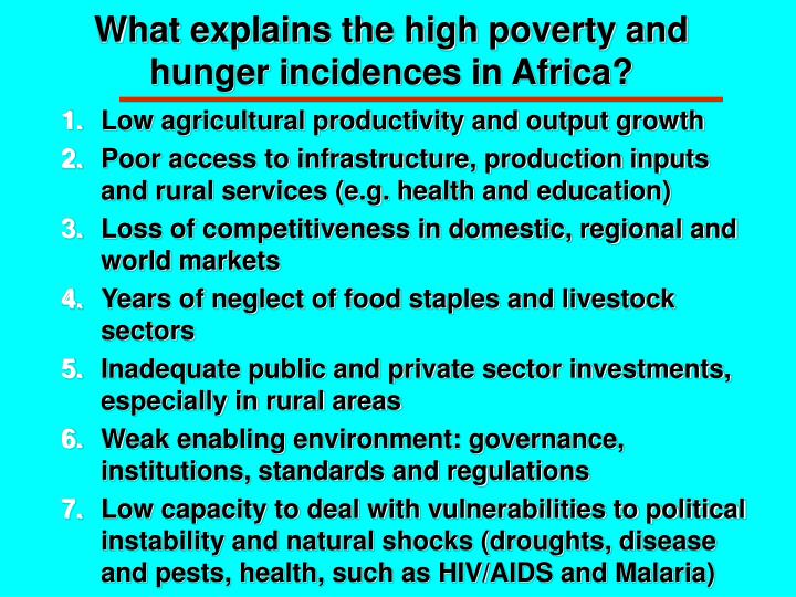 What explains the high poverty and hunger incidences in Africa?