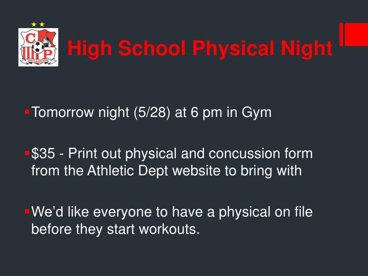 High School Physical Night