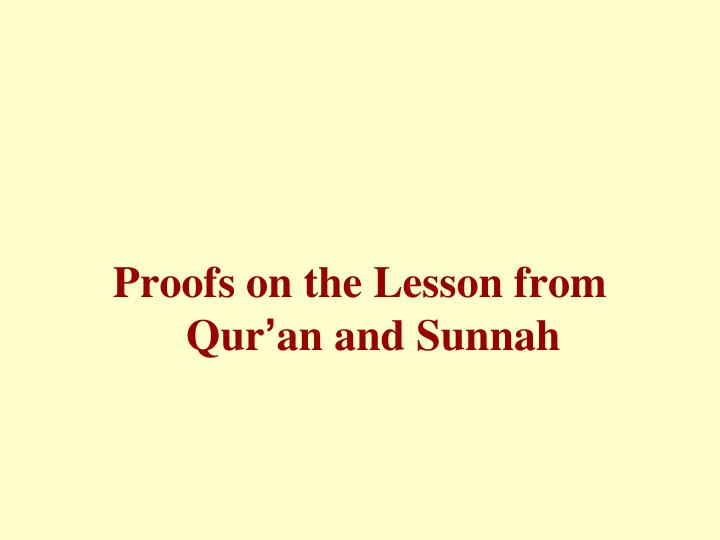 Proofs on the Lesson from Qur