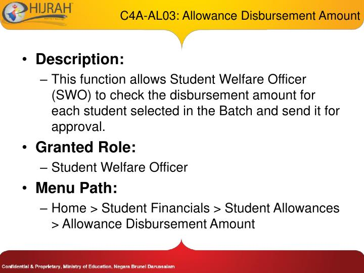 C4A-AL03: Allowance Disbursement Amount