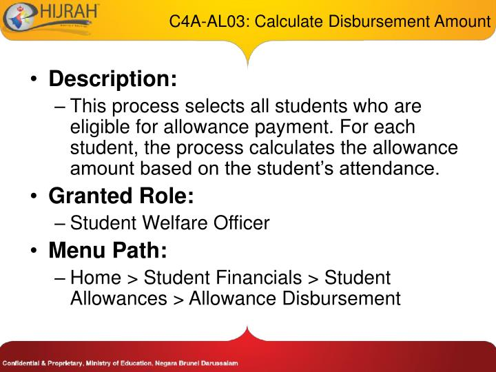 C4A-AL03: Calculate Disbursement Amount