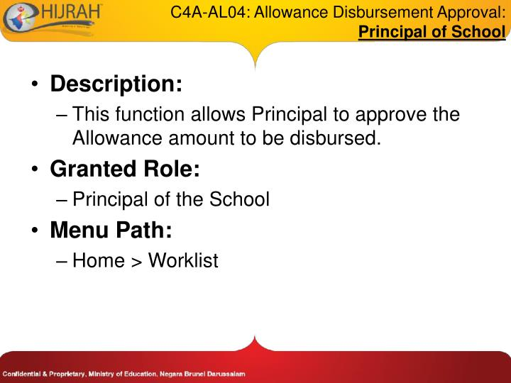 C4A-AL04: Allowance Disbursement Approval: