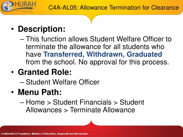 C4A-AL05: Allowance Termination for Clearance