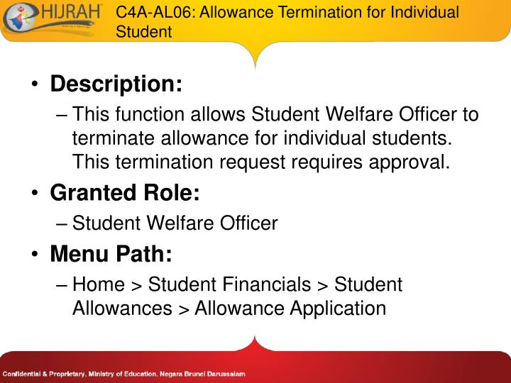 C4A-AL06: Allowance Termination for Individual Student