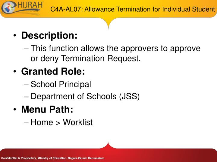 C4A-AL07: Allowance Termination for Individual Student